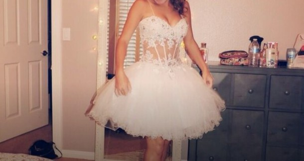 dress short white dress with sheer midsection