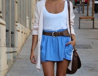 skirt blue skirt cardigan hipp brown belt clothes shirt