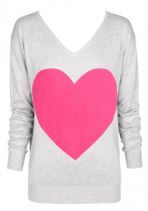 The Love Heart Angora Sweater - Light Grey With Pink Heart |  | Sophie Moran
