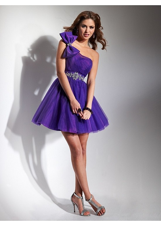 One Shoulder Homecoming Dress With Tulle Skirt P1723