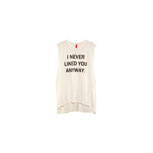 NEW H&M I NEVER LIKED YOU ANYWAY DROP SIDE LONG VEST TOP T-S... - Polyvore