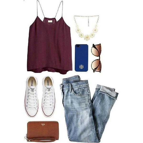 jeans jewels sunglasses tank top