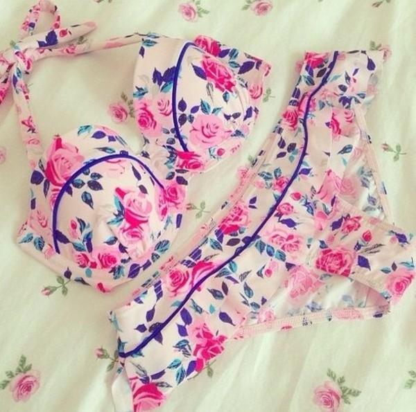 underwear bikini flowers pretty pink floral