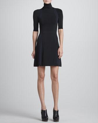 ALC Manivet Open-Back Turtleneck Dress - Neiman Marcus