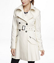 WOOL BLEND FIT AND FLARE TRENCH COAT | Express