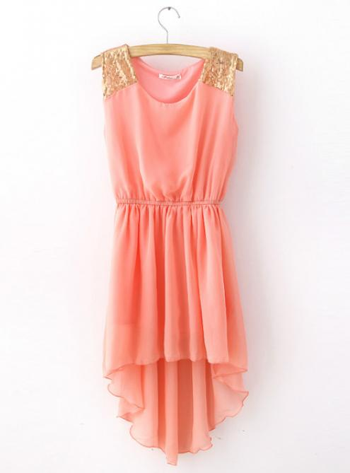 Short Front Long Back Asymmetric Sequin Shiffon Dress Pink$41
