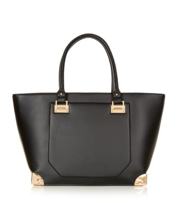 Black Leather-Look Metal Corner Tote Bag