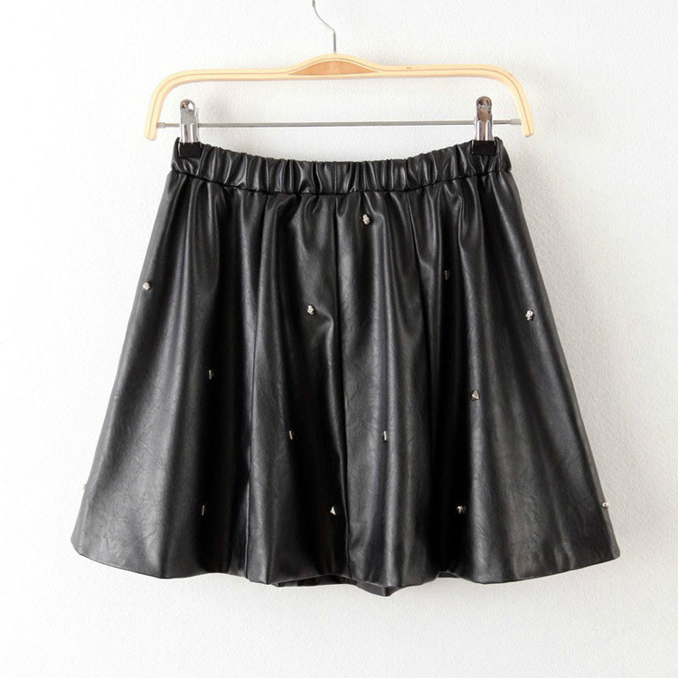 Summer New Arrival Sexy Solid Black Elastic Waist Leather Womens Mini Skater Skirt with Rivets Free Shipping-in Skirts from Apparel & Accessories on Aliexpress.com