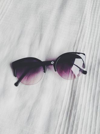 sunglasses black plum violet hot summer bikini cute dress cat eye make-up accessories sexy luxury cute glasses hipster fashion faded purple sunglasses black to purple purple