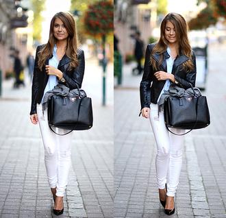 mariannan blogger jacket jeans bag shoes