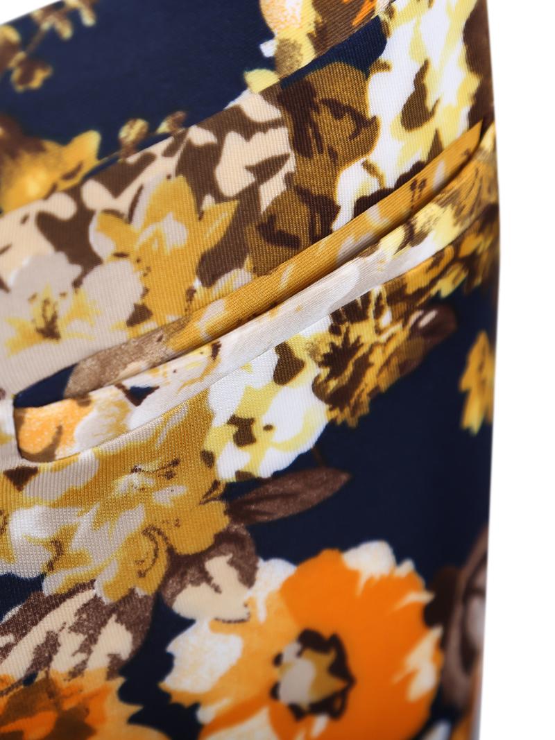Yellow Pockets Rose Print Pant - Sheinside.com