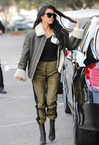 jacket pants kourtney kardashian kardashians boots top sunglasses streetstyle shoes