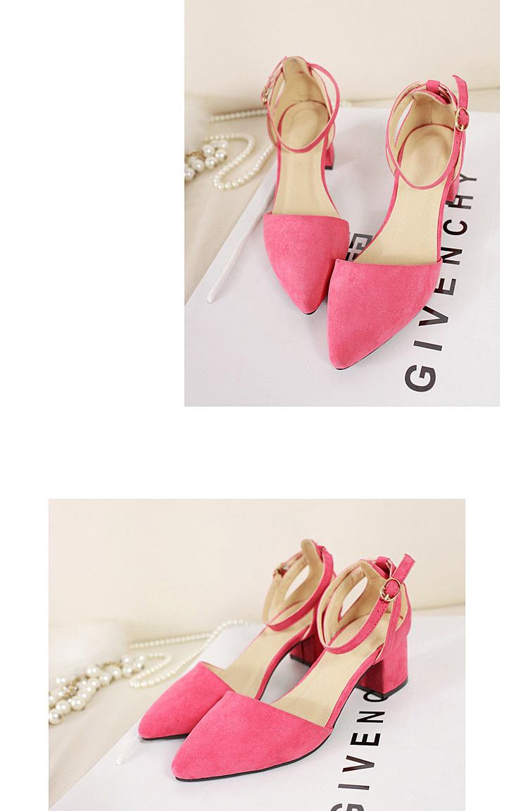 Vintage Pink Ankle Strap Sandals [FABI1686] - PersunMall.com