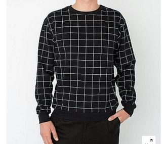 sweater black white sweatshirt zara american apparel pullover hipster grunge menswear mens sweater pants