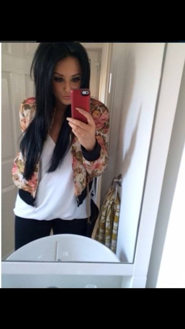 jacket charlotte geordie shore bomber jacket floral