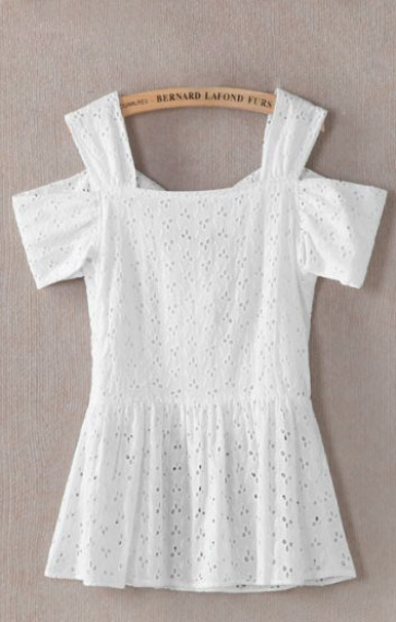Hollow-out Embroidery Bowknot Decorated Off-shoulder Lace Blouse