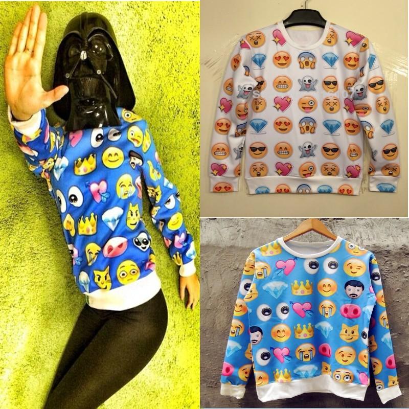 HOT!2014New Women Men love/afraid/happy/sad emoji print Pullover sexy funny 3D/Galaxy Sweatshirts Hoodies jacket sweaters Tops-in Hoodies & Sweatshirts from Apparel & Accessories on Aliexpress.com