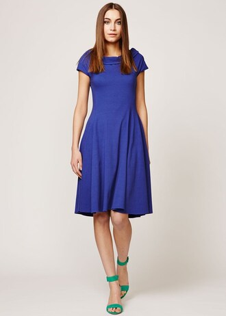 dress teresa dress in blue blue dress blue cap sleeve dress boat neck