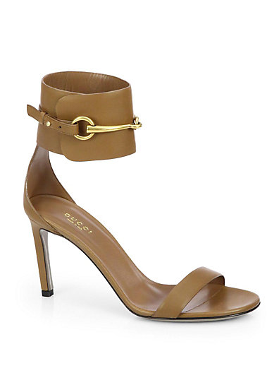 Gucci - Ursula Leather Horsebit Ankle-Strap Sandals - Saks.com