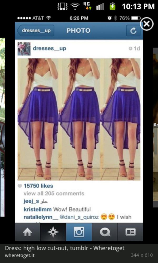 dress blue white high-low dresses cut-out dress gold belt