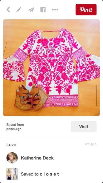 dress pinterest pink white wide arm sleeve long short shift