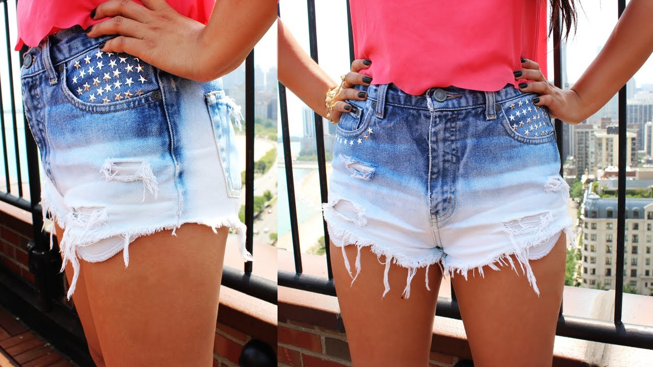 DIY Under $10 :  Ombre Gradient Blue Shorts w Stars Rivets From Old Jeans - YouTube