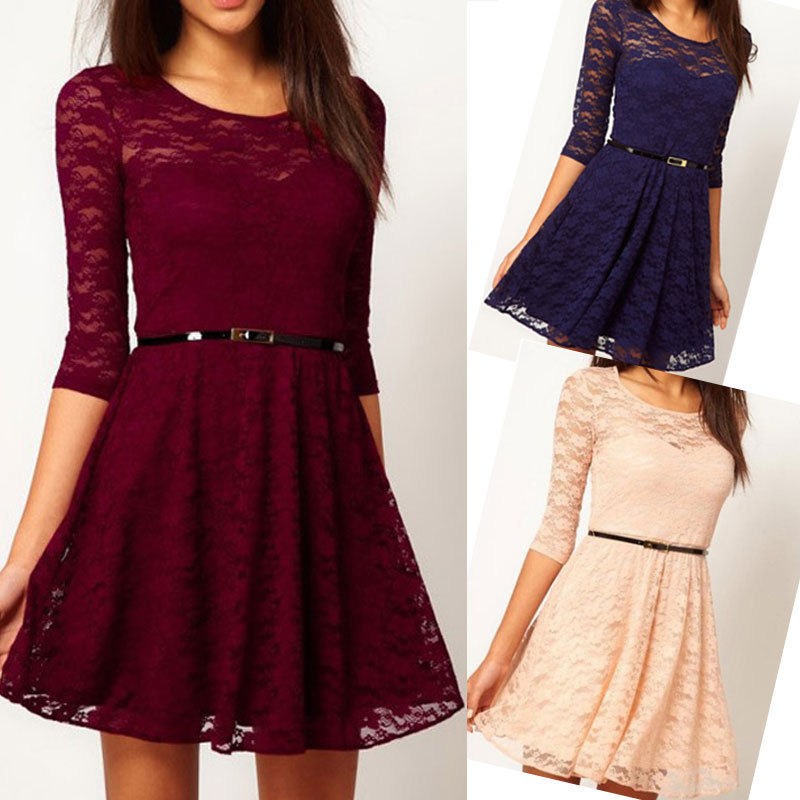 Sexy Womens Spoon Neck 3 4 Sleeve Lace Sakter Dress Slim Fit Party Dress | eBay