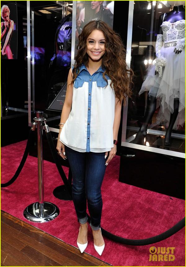 blouse vanessa hudgens jeans denim cute fashion shoes