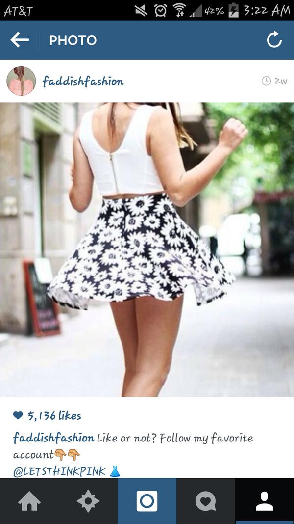 skirt daisy black skater skirt