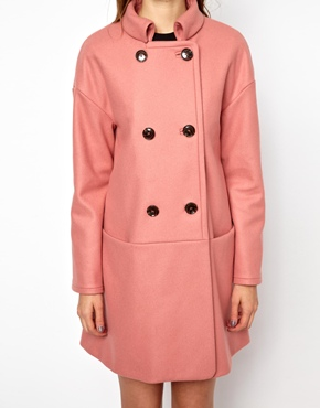 Pink   French Connection Glorious Wool Oversized Coat in Dusky Pink at ASOS
