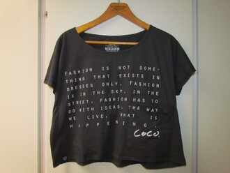 crop tops black t-shirt chanel textured top t-shirt