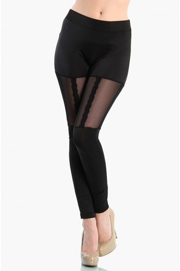 OMG MESH GARTER LEGGINGS - Black