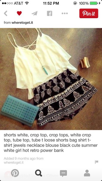 shorts black pattern t-shirt