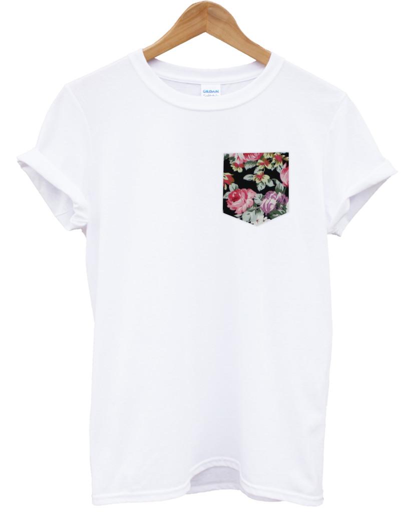 Vintage rose print pocket white t shirt