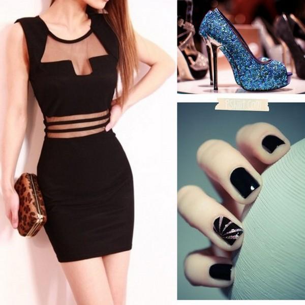 dress sexy dress black dress short dress fashion bag shoes