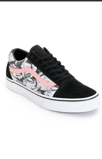 shoes vans old skool black white and pink