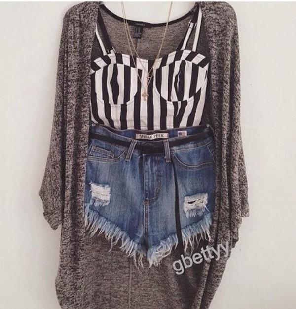 t-shirt shorts necklace jacket stripes