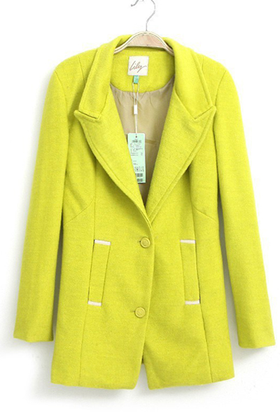 Lapel Pure Color Women Woolen Overcoat,Cheap in Wendybox.com