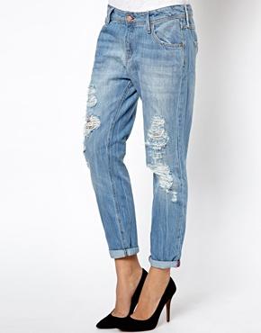Mango | Mango Light Wash Ripped Jeans at ASOS