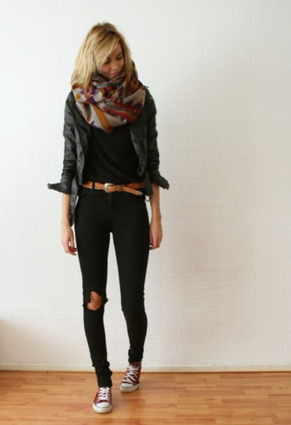 aztec scarf jeans black jeans jacket jacket brown belt rip jeans spring vibrant pants casual fall outfits belt leather leather jacket grey leather jacket black leather jacket