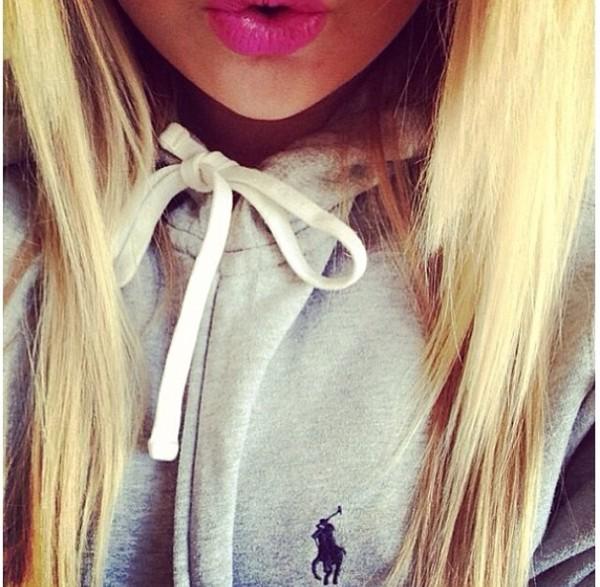jewels pink lips lipstick ralph lauren polo blonde hair girly teenagers sweater