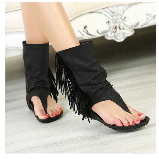 Womens Tassel Flip Flops Thongs Gladiator Summer Ankle Boots Sandal Shoes New | eBay