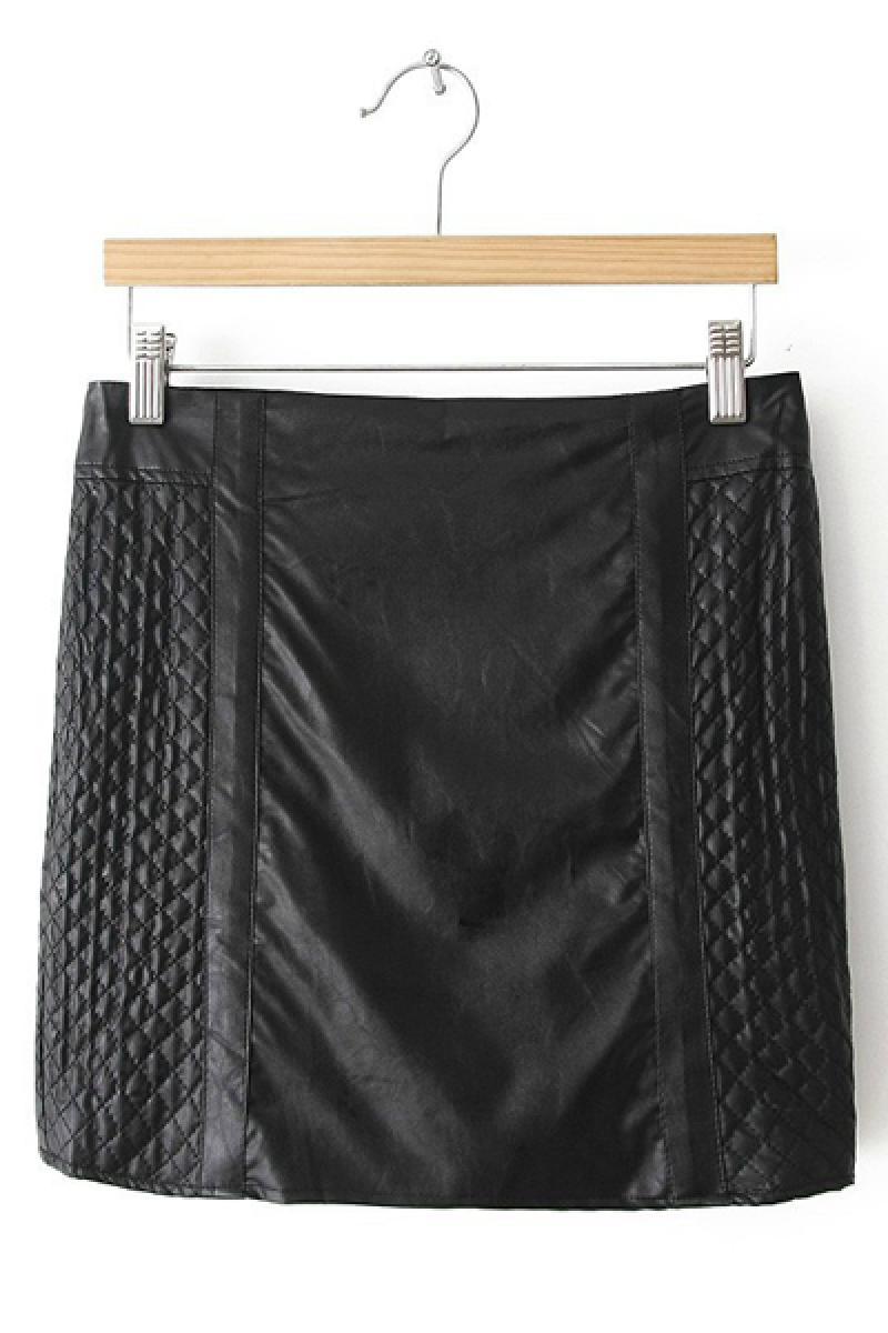 New Skinny Parallelogram Pattern Fashion Short PU Skirt,Cheap in Wendybox.com