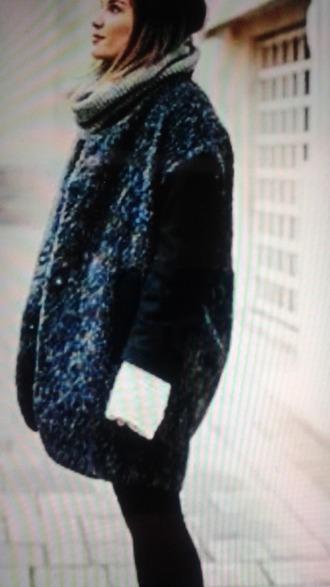 coat chin? noir blanc laine tress? manteauu