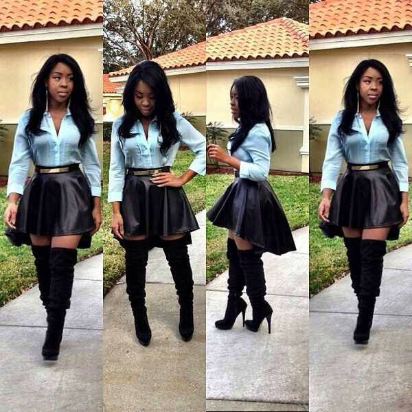 blue shirt high low skirt gold belt leather skirt black skirt thigh high boots black boots fall skirt