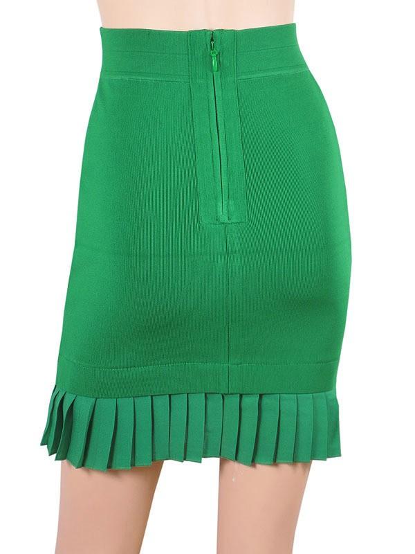 Herve Leger Green Pleated Bandage Skirt [Herve Leger Green Skirt] - $108.00 : 2014 Discount Herve Leger Outlet Online Store