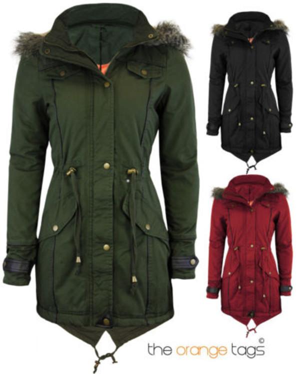 jacket oversized jacket vintage retro old school style urban parka khaky red black fur hood fishtail military style streetstyle