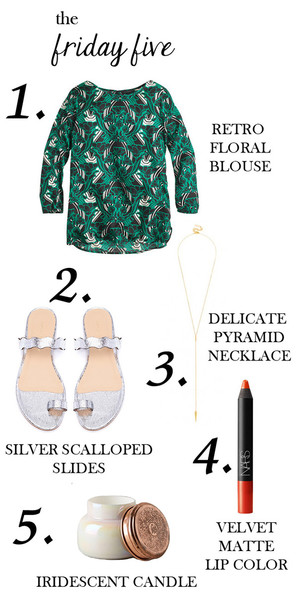 m loves m blogger blouse floral sandals candle red lipstick