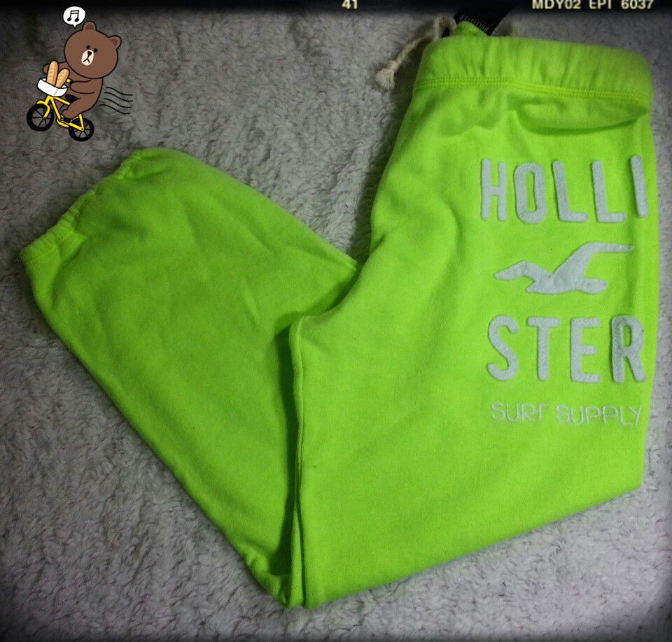 HOLLISTER ABERCROMBIE WOMEN NEON GREEN DRAWSTRING CROPPED SWEATPANTS SZ L | eBay