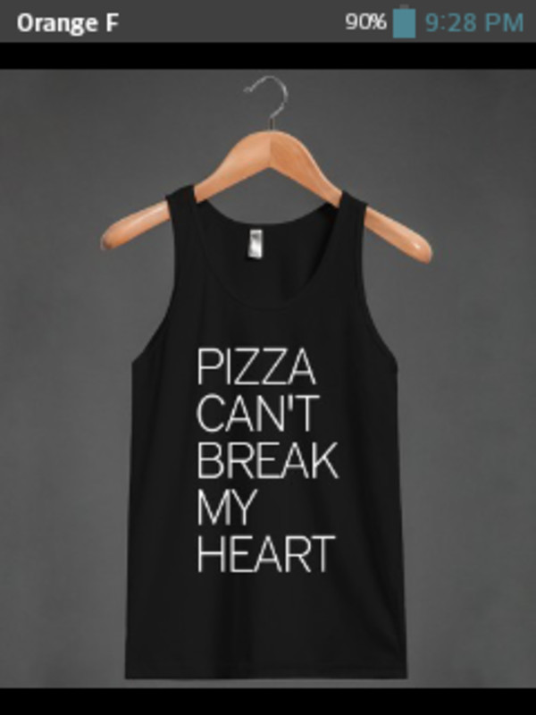 tank top t-shirt black white pizza food
